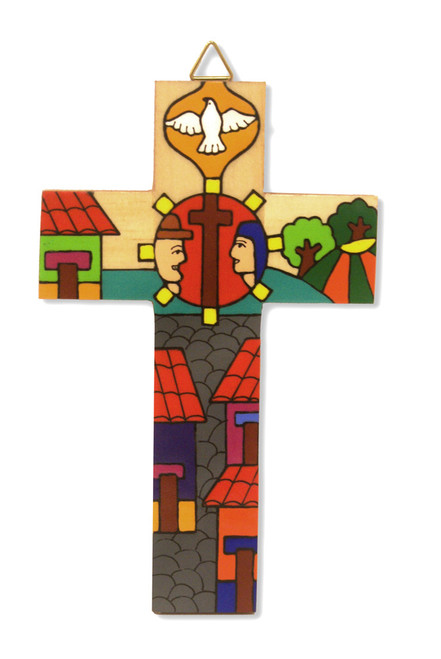 Man and Wife Small Hand-Painted Salvadorian Cross