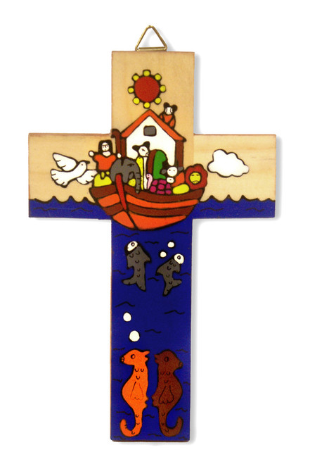 Noah's Ark Small Hand-Painted Salvadorian Cross