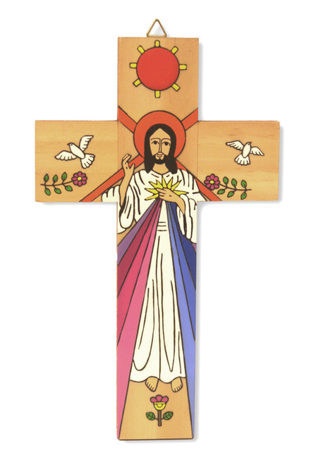Divine Mercy Large Hand-Painted Salvadorian Cross