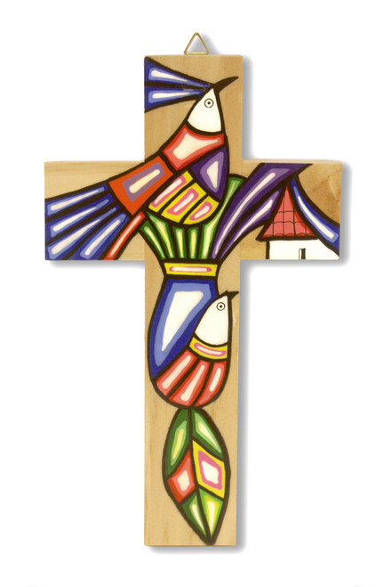 Two Doves Large Hand-Painted Salvadorian Cross