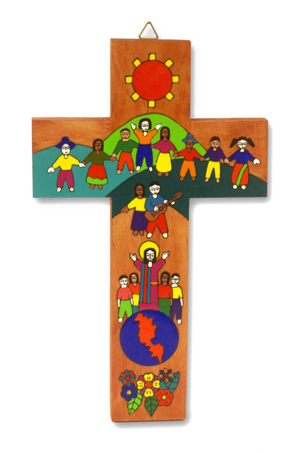 World Family Large Hand-Painted Salvadorian Cross