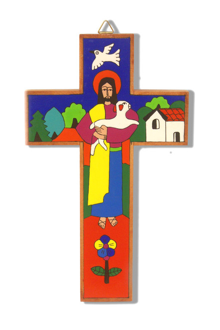 Good Shepherd Large Hand-Painted Salvadorian Cross