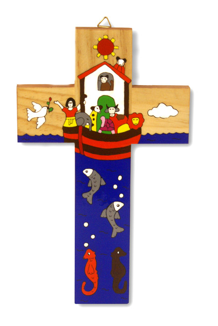 Noah's Ark Large Hand-Painted Salvadorian Cross