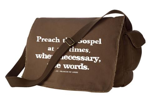 Preach the Gospel Large Messenger Bag