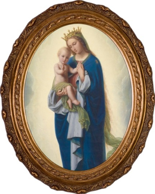 Madonna and Child by Franz Ittenbach Framed Oval Canvas