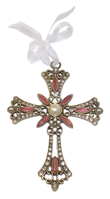 Flower Filigree Jeweled Cross