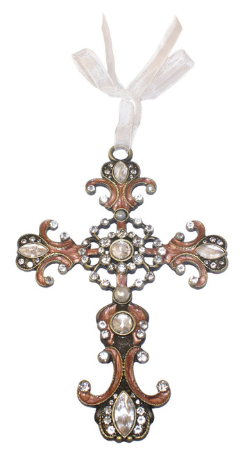 Heart Filigree Jeweled Cross