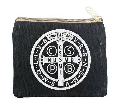 Benedictine Medal Large Black Rosary Bag