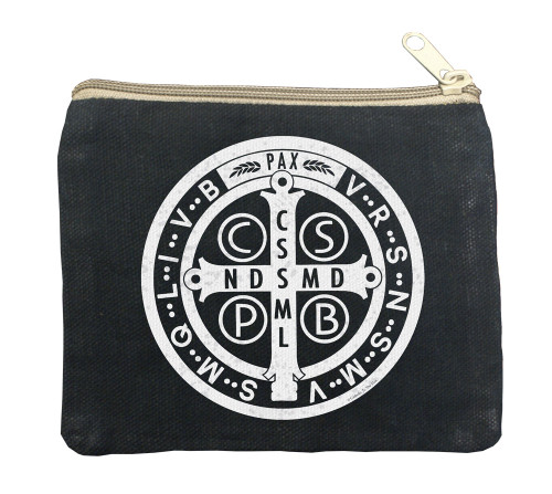 Benedictine Medal Large Black Rosary Bag