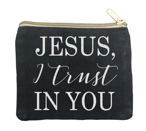 Jesus I Trust in You Large Black Rosary Bag