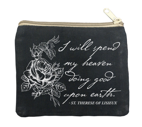 """""""I Will Spend my Heaven"""" Large Black Rosary Bag"""