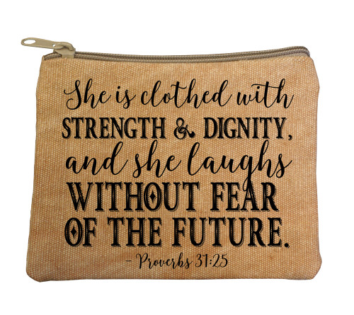 """Clothed with Strength"" Large Tan Rosary Bag"