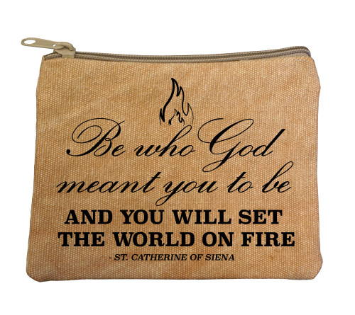 """Be Who God Meant"" Large Tan Rosary Bag"