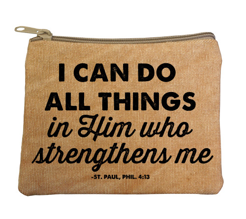 """I Can Do All Things"" Large Tan Rosary Bag"