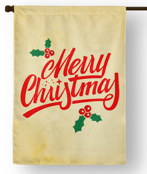 Holly Merry Christmas Outdoor House Flag