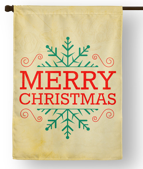 Snowflake Merry Christmas Outdoor House Flag