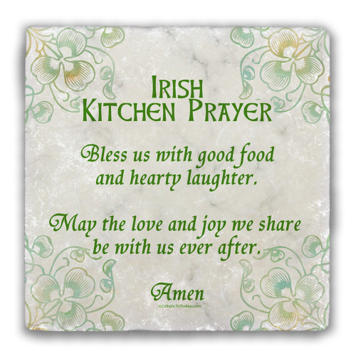 Irish Kitchen Prayer Tumbled Stone Coaster