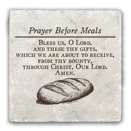 Prayer Before Meals Tumbled Stone Coaster