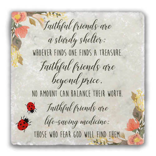 Faithful Friends Tumbled Stone Coaster