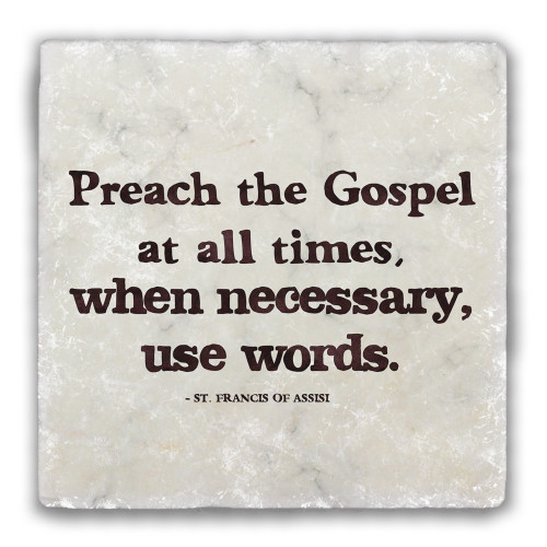 """Preach the Gospel"" Tumbled Stone Coaster"