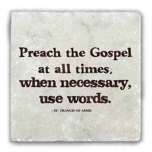 """Preach the Gospel"" Tumbled Stone Coaster"