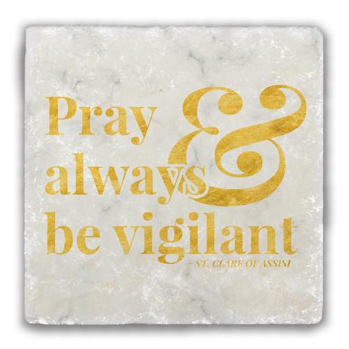 """""""Pray """" Tumbled Stone Coaster"""
