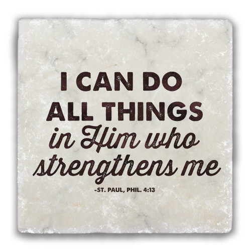 """""""I Can Do All Things"""" Tumbled Stone Coaster"""