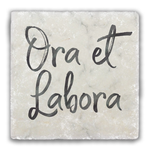 """Ora et Labora"" Tumbled Stone Coaster"
