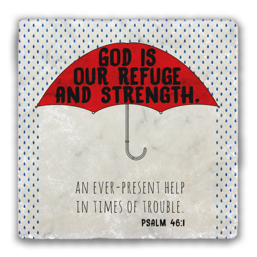 """God is our Refuge"" Tumbled Stone Coaster"
