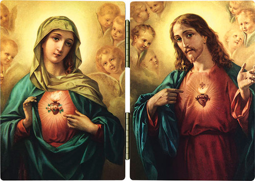 Sacred and Immaculate Hearts Diptych