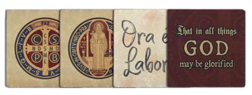 Benedictine Tumbled Stone Coaster Set (Pack of 4)