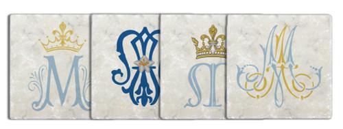 Marian Symbols Tumbled Stone Coaster Set (Pack of 4)