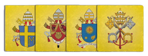 Papal Coat of Arms Tumbled Stone Coaster Set (Pack of 4)