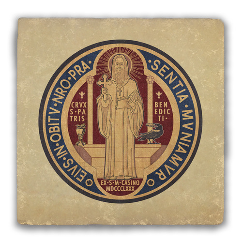 Benedictine Medal Back Tumbled Stone Coaster