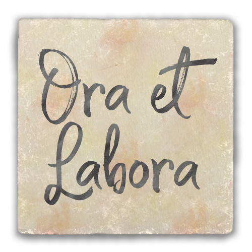 Weathered Ora et Labora Tumbled Stone Coaster