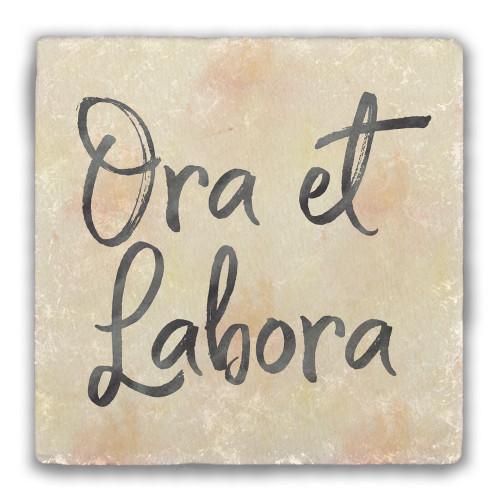 Weathered Ora et Labora Tumbled Stone Coaster