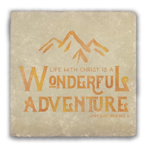"""Wonderful Adventure"" Warm Tumbled Stone Coaster"