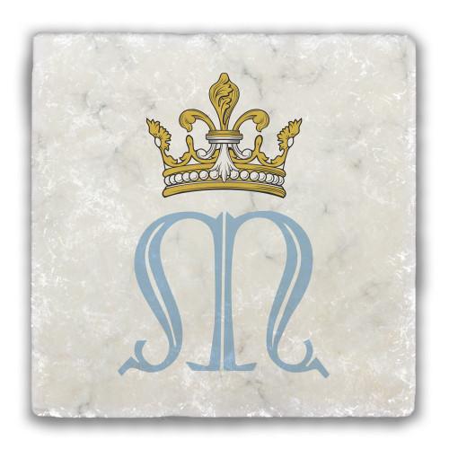 Fluted Marian Symbol Tumbled Stone Coaster