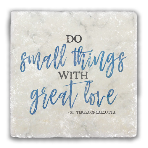 """Do Small Things"" Darker Blue Tumbled Stone Coaster"