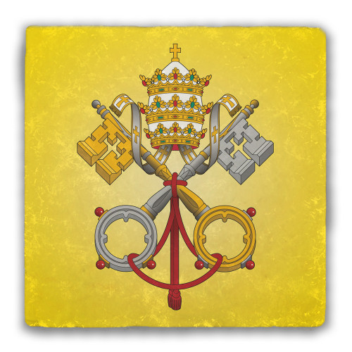 Papal Coat of Arms Tumbled Stone Coaster