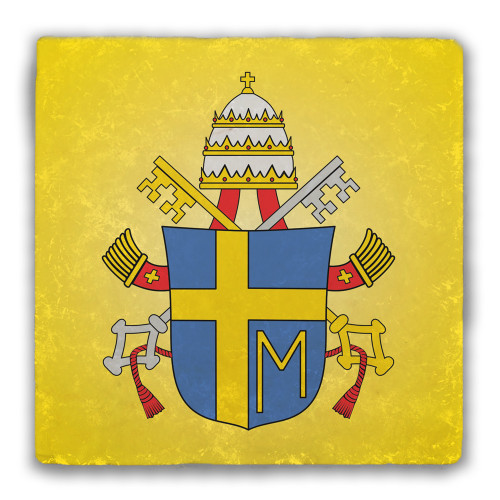 Pope John Paul II Coat of Arms Tumbled Stone Coaster