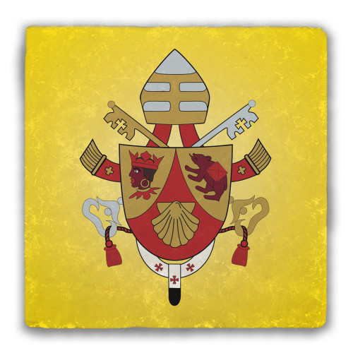 Pope Benedict XVI Coat of Arms Tumbled Stone Coaster