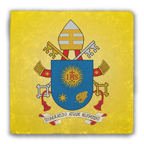 Pope Francis Coat of Arms Tumbled Stone Coaster