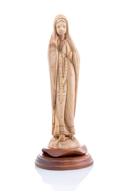 Detailed Madonna of the Rosary Olive Wood Statue