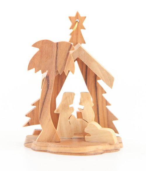 Olive Wood Nativity Scene Ornament