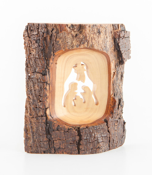 Live Edge Olive Wood Holy Family Ornament