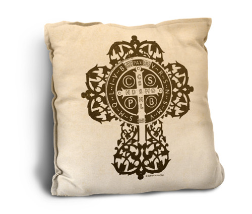 Benedictine Cross Rustic Pillow
