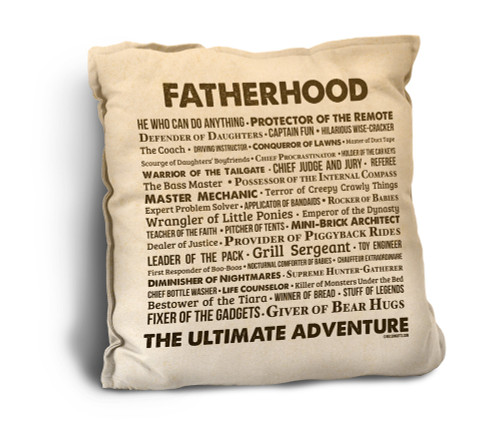 Fatherhood Quote Rustic Pillow