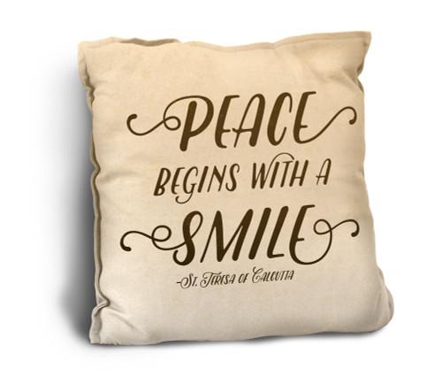 Peace Begins Rustic Pillow