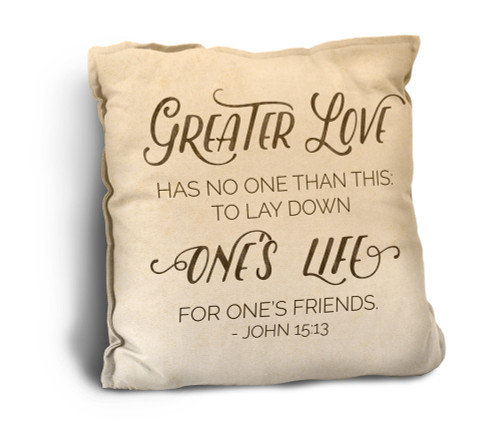 Greater Love Rustic Pillow